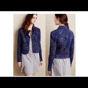 Knitted Knotted Anthropologie Blue Jacquard Jacket